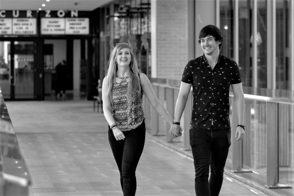 engaged couple leave curzon cinema oxford westgate centre photography session oxfordshire wedding photographer