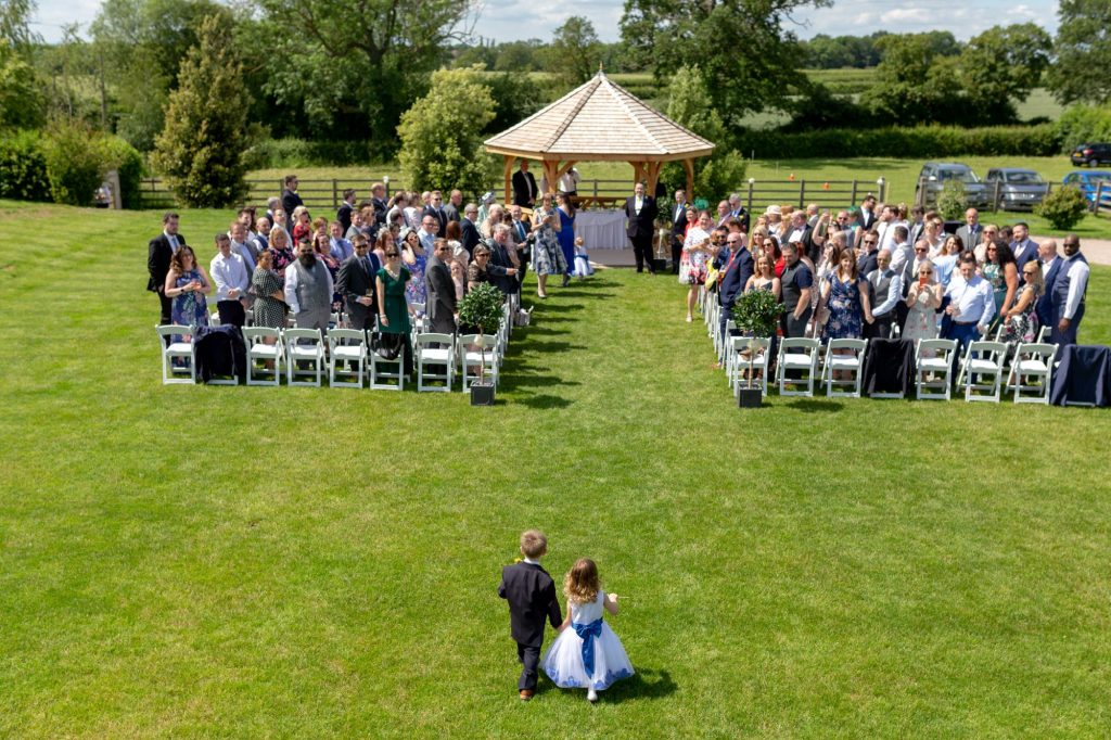 pageboy flowergirl walk down aisle manor hill house bromsgrove worcestershire oxfordshire wedding photographers