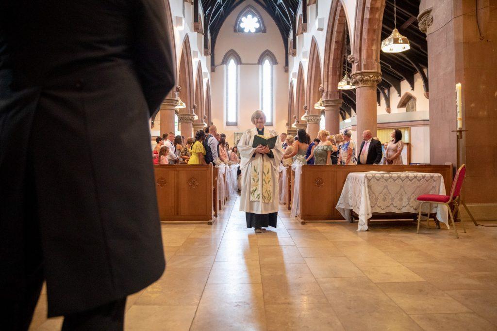 bridegroom awaits bride st marks pensnett marriage ceremony dudley west midlands oxford wedding photographer