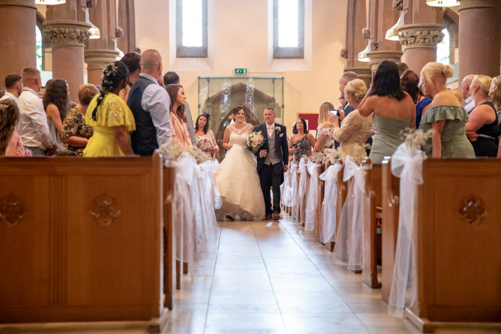bride brides escort walk down aisle st marks pensnett dudley west midland oxford wedding photographers