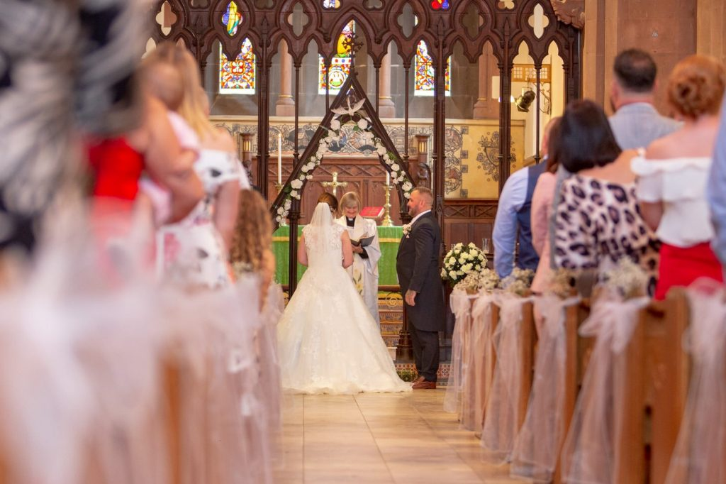 groom greets bride st marks church alter pensnett dudley west midlands oxford wedding photography