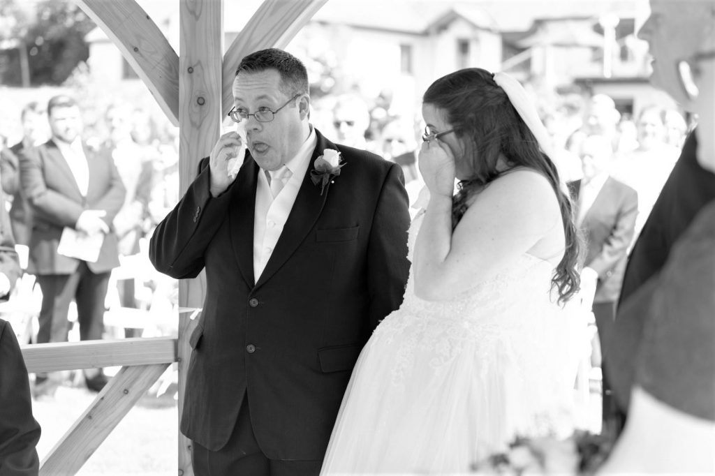 tearful bride groom open air ceremony manor hill house bromsgrove worcestershire oxfordshire wedding photographers