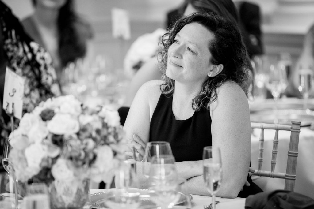 smiling wedding breakfast guest academy of medical sciences venue portland place london oxfordshire wedding photography