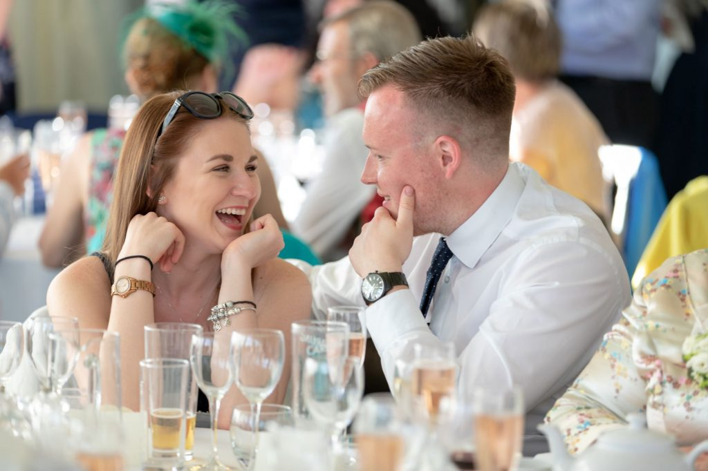 laughing dinner reception guests manor hill house bromsgrove worcestershire oxford wedding photographer