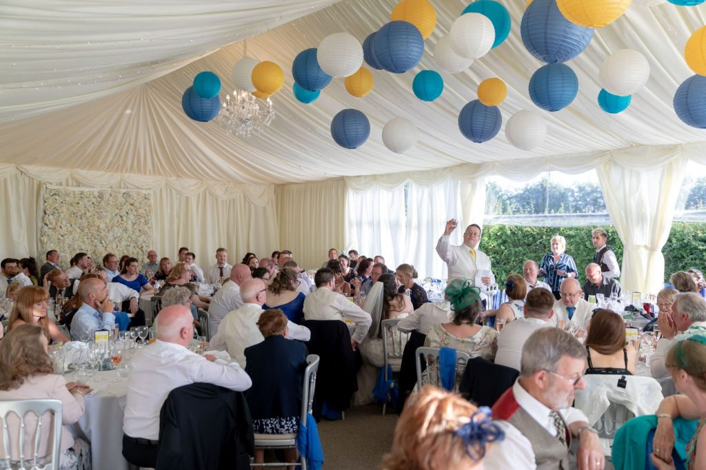balloon festooned dinner reception marquee manor hill house bromsgrove worcestershire oxford wedding photography