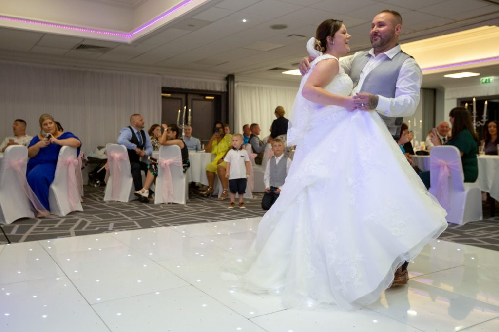 bride groom first dance village hotel club dudley birmingham oxfordshire wedding photography