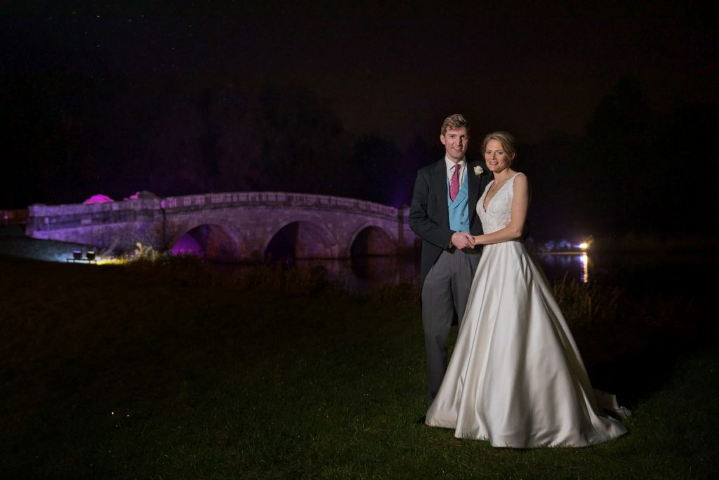 bride groom formal night portrait blenheim palace grounds woodstock oxfordshire wedding photographers