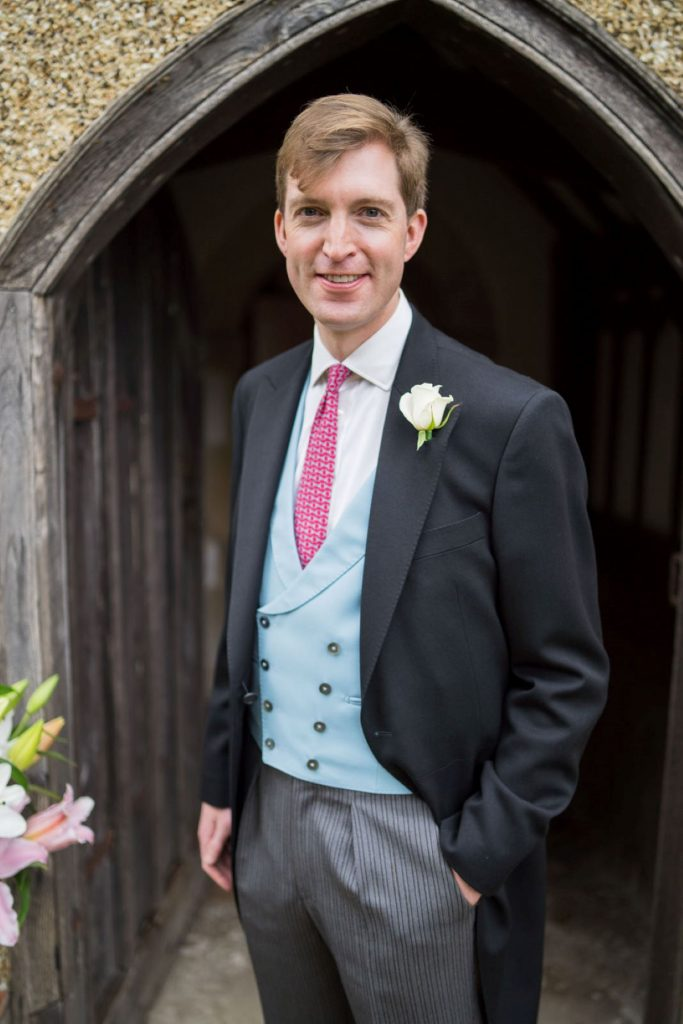 grooms portrait church of st michael aston tirrold oxford wedding photographer