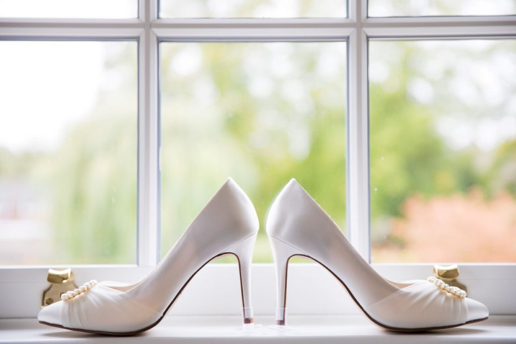 bridezs shoes bridal preparation church of st michael ceremony aston tirrold oxfordshire wedding photography