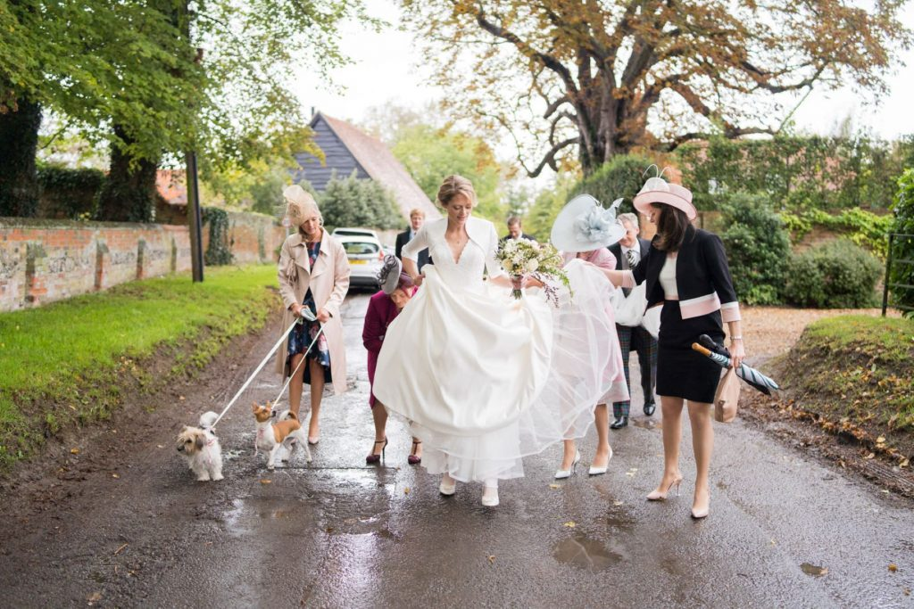 bridal party walk to ceremony church of st michael aston tirrold oxfordshire oxford wedding photographer