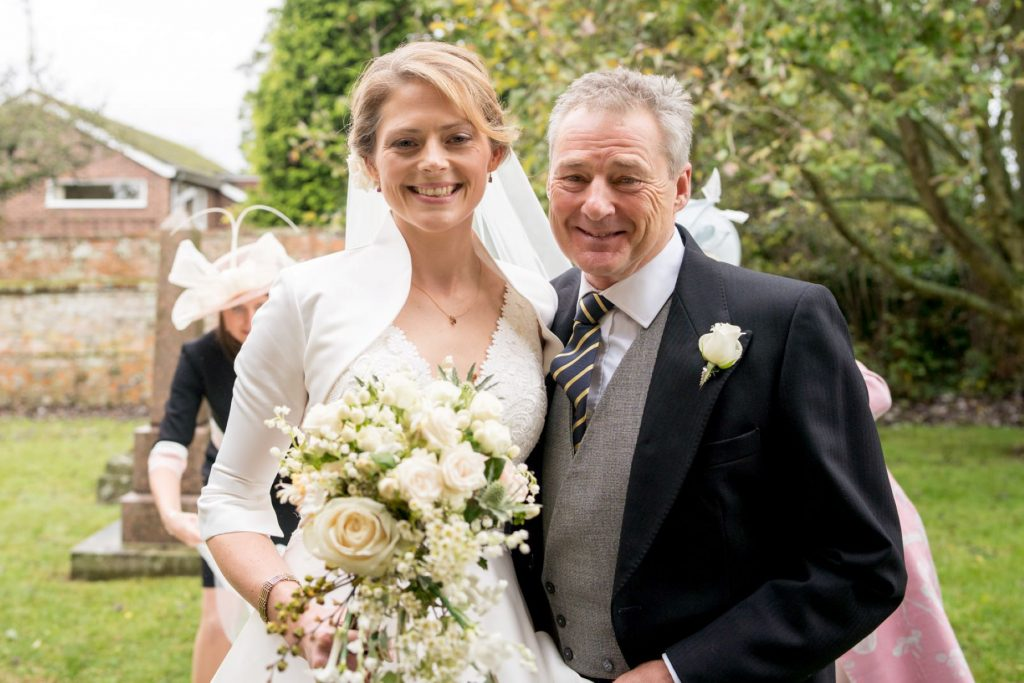 father of bride portarit with bride church of st michael churchyard aston tirrold oxfordshire wedding photography