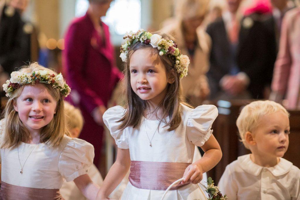 flowergirls pageboy church of st michael ceremony aston tirrold oxfordshire wedding photographers