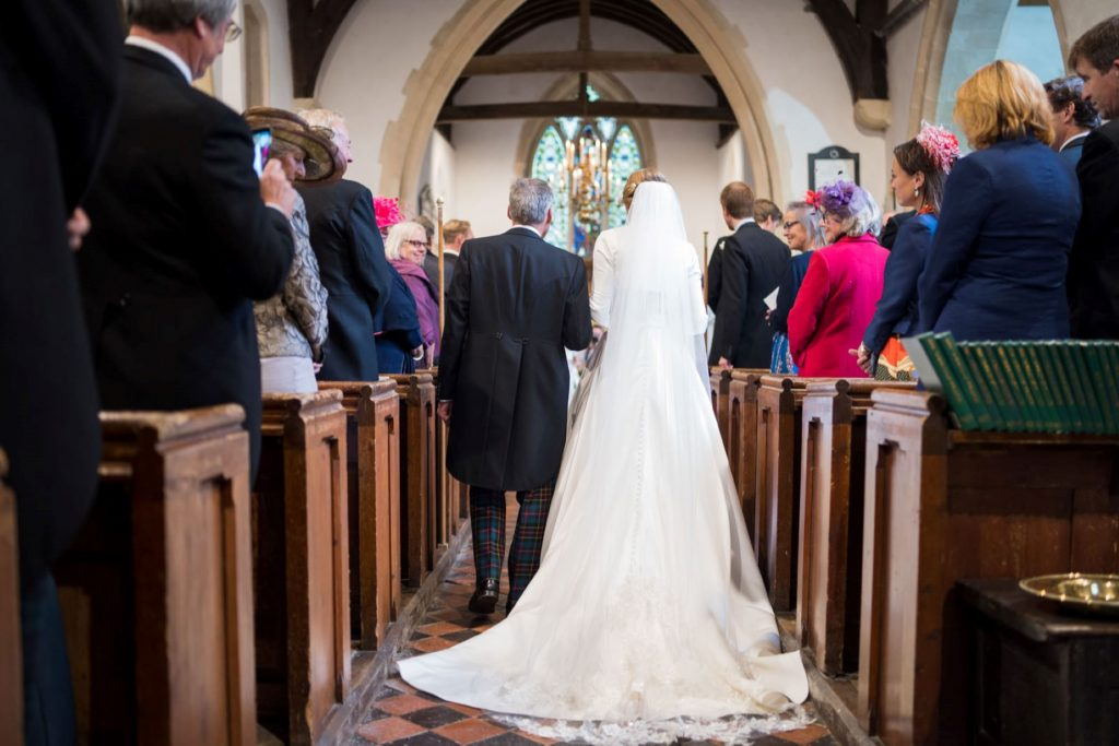 bride father of bride walk down aisle church of st michael ceremony aston tirrold oxfordshire oxford wedding photographer