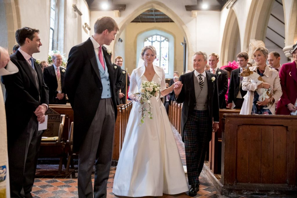 groom meets bride with father at alter church of st michael aston tirrold oxfordshire oxford wedding photography