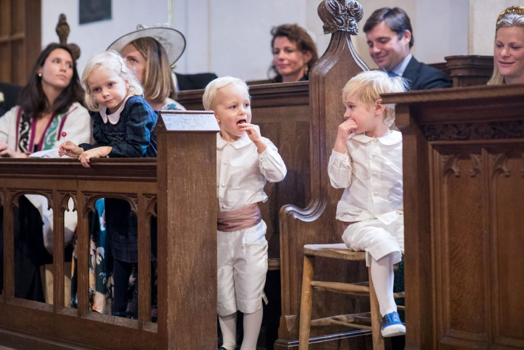 pageboys at ceremony church of st michael aston tirrold oxfordshire wedding photographer