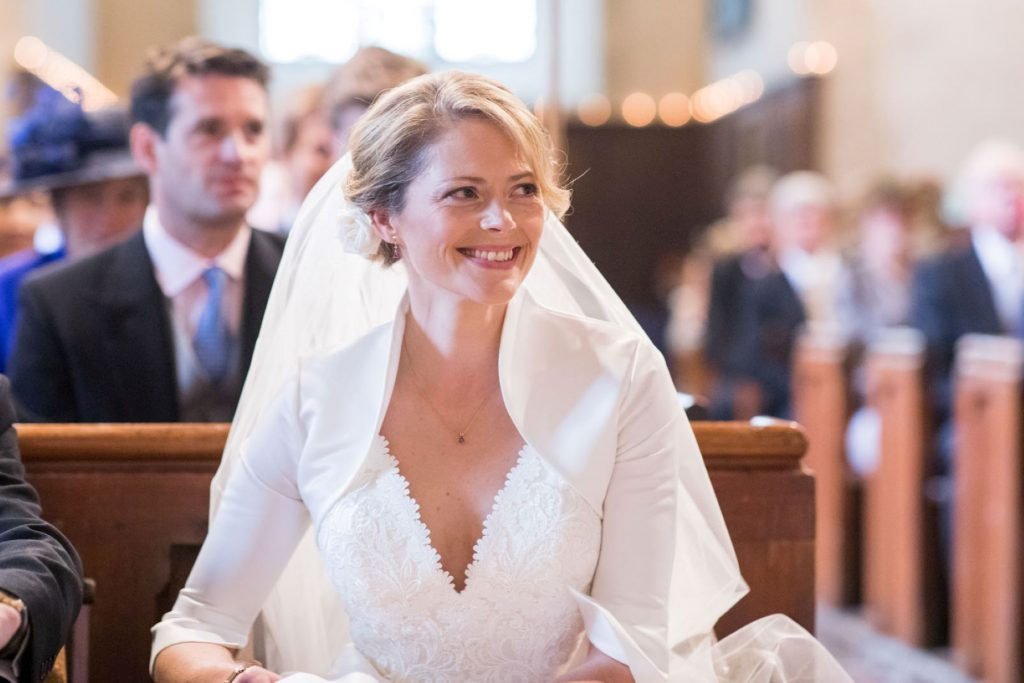 smiling bride church of st michael ceremony aston tirrold oxfordshire wedding photography