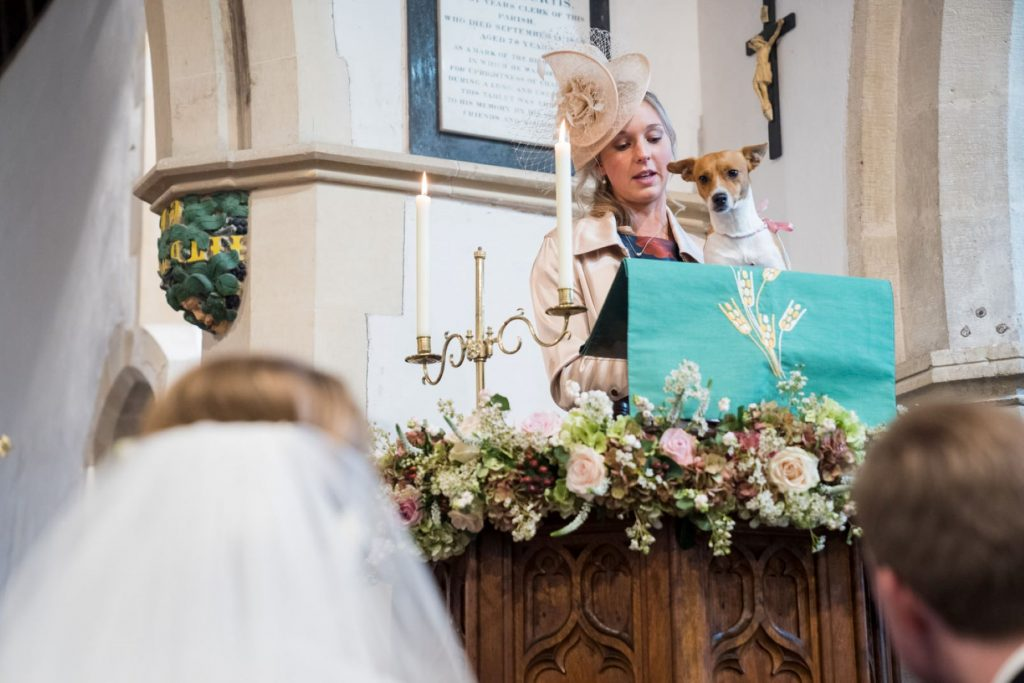 guest with dog gives pulpit reading church of st michael aston tirrold oxfordshire wedding photographer