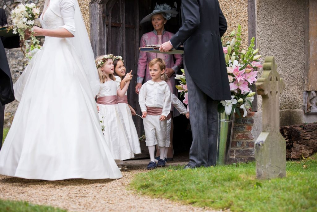 flowergirls pageboys leave church of st michael aston tirrold oxfordshire oxford wedding photographers