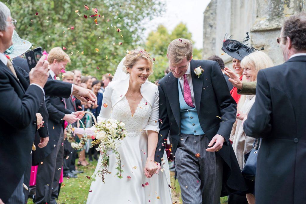 bride groom confetti shower church of st michael aston tirrold oxfordshire wedding photography