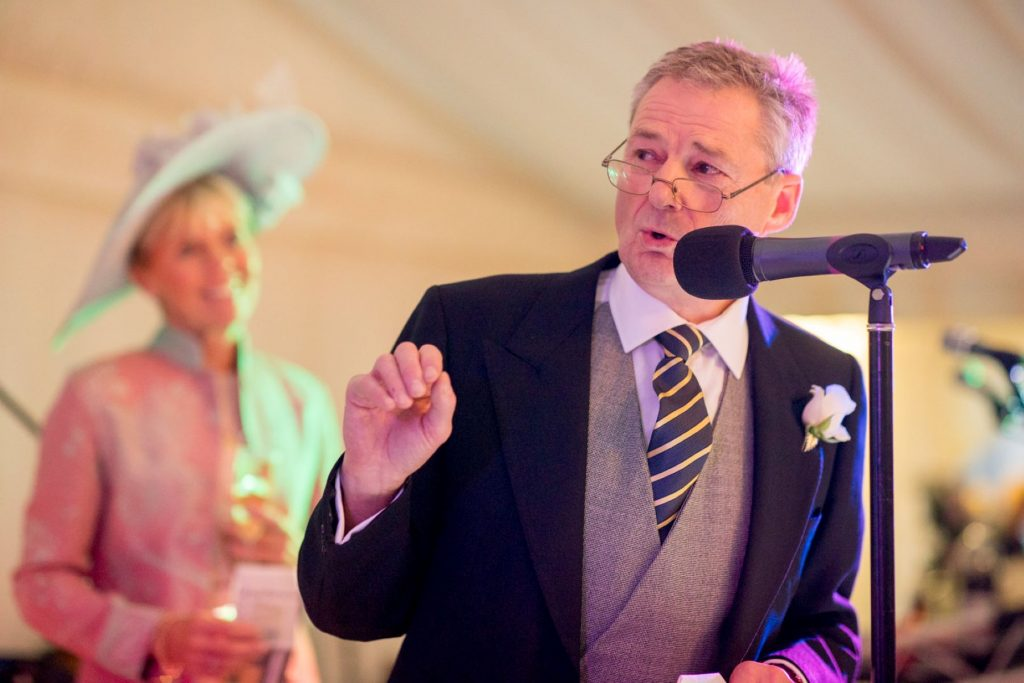 brides mother hears father of bride speech marquee reception blenheim palace woodstock oxfordshire wedding photographer