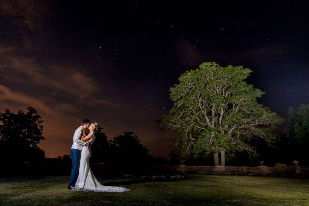 bride grooms twilight moment elvetham estate grounds hampshire oxfordshire wedding photography
