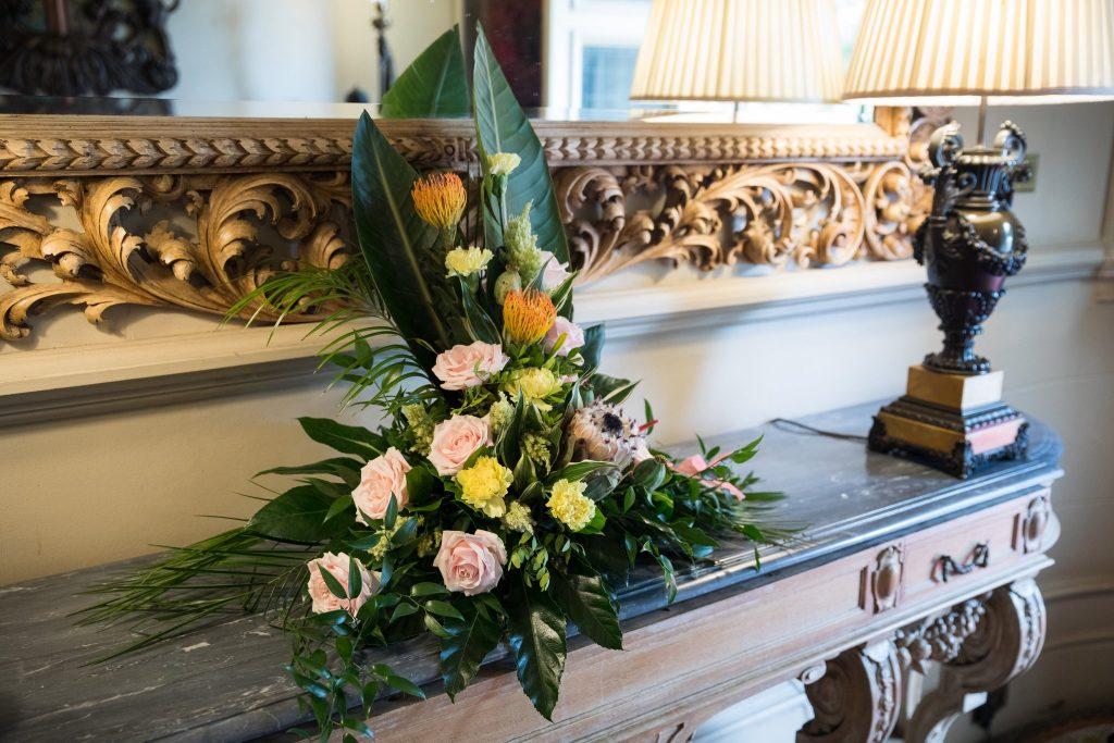 reception floral arrangement kilworth house hotel kilworth leicestershire oxfordshire wedding photographer