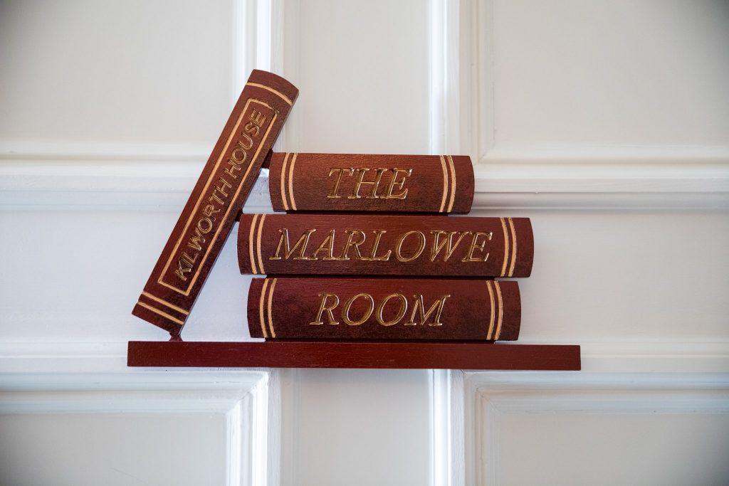 marlowe room sign kilworth house hotel north kilworth leicestershire oxfordshire wedding photographers
