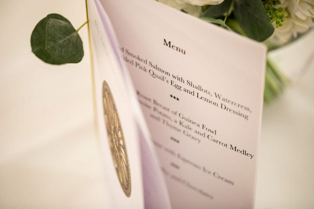 dinner reception menu lansdowne club mayfair london oxfordshire wedding photography
