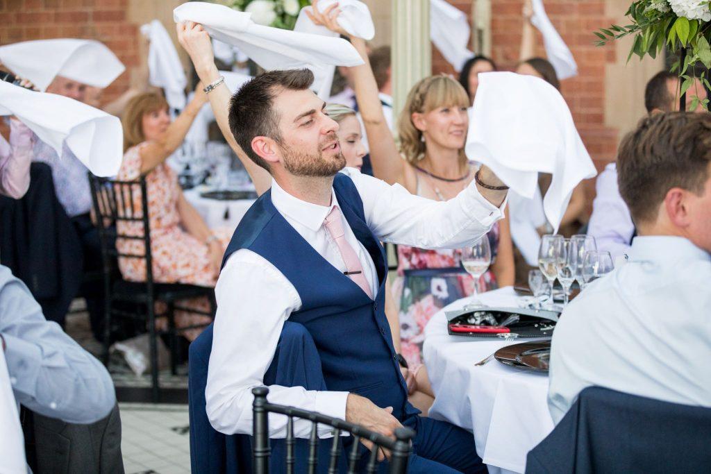 diners wave napkins kilworth house hotel orangery reception north kilworth leicestershire oxford wedding photographer