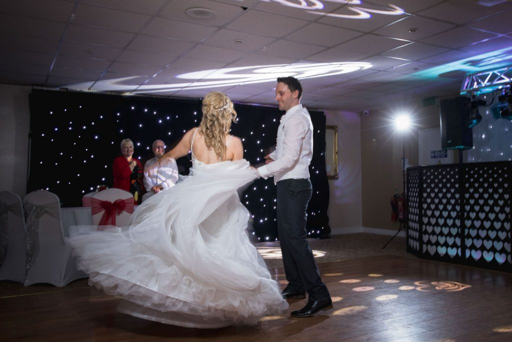 groom twirls bride wroxeter hotel dancefloor shrewsbury shropshire oxfordshire wedding photographers