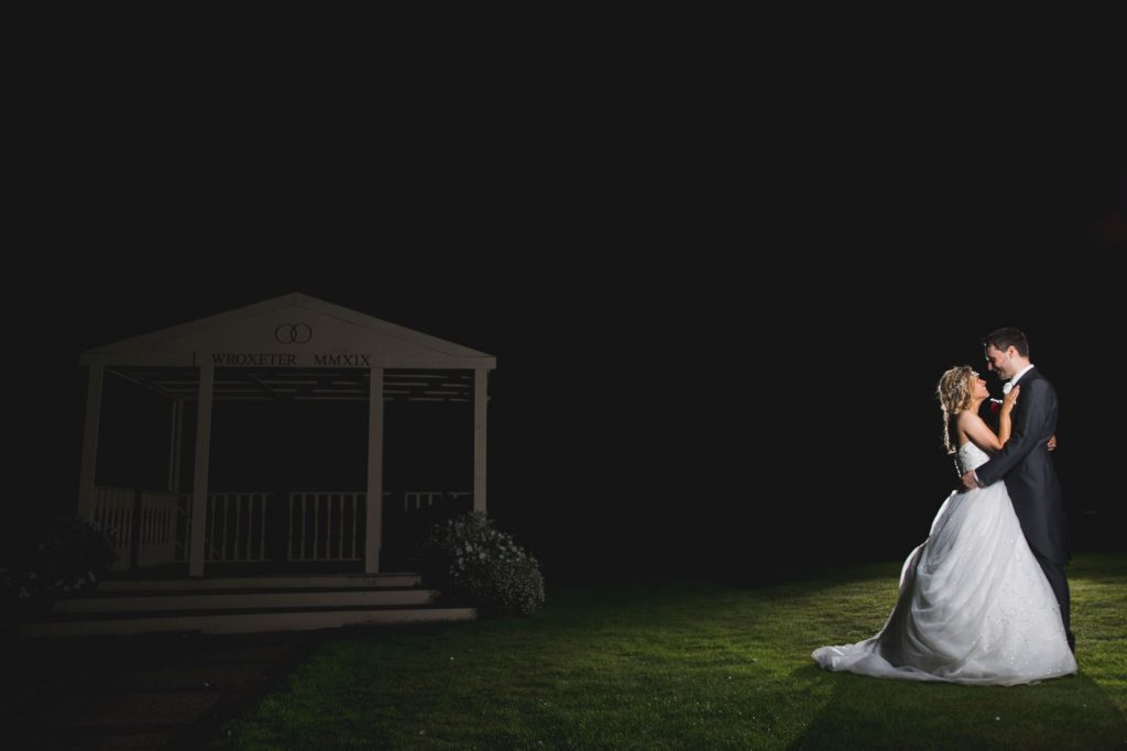 bride groom twilight embrace wroxeter hotel gardens shrewsbury shropshire oxford wedding photographers