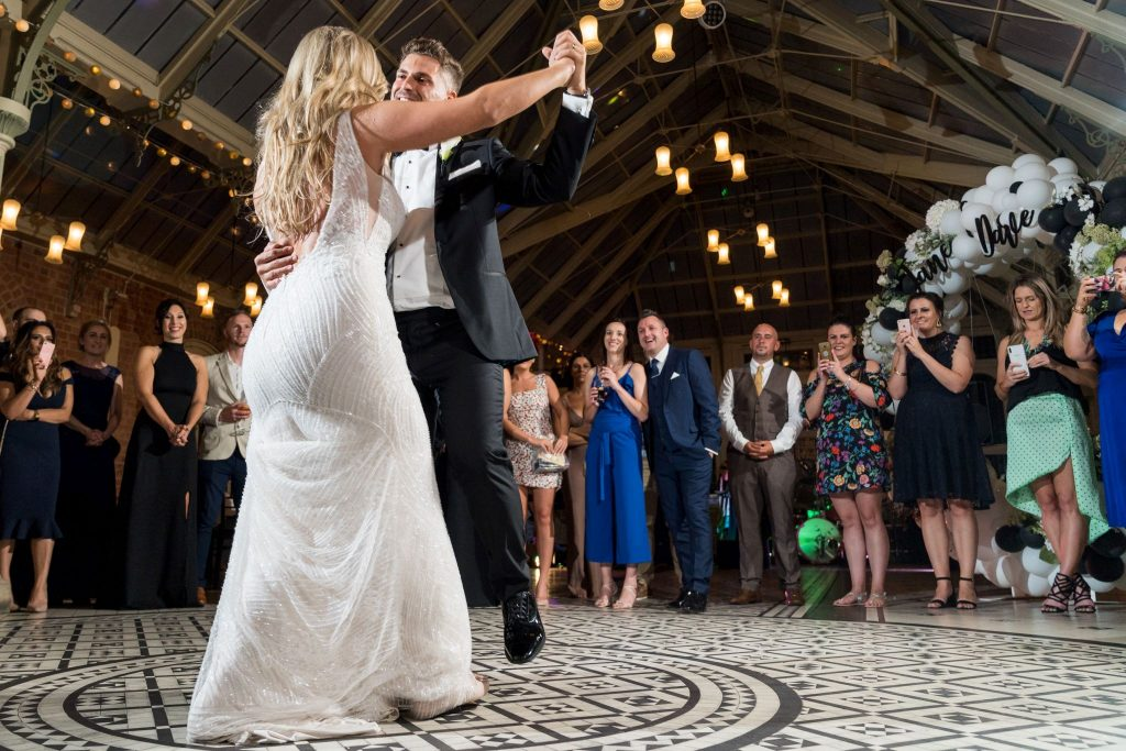 guests watch bride grooms first dance kilworth house hotel north kilworth leicestershire oxford wedding photographer