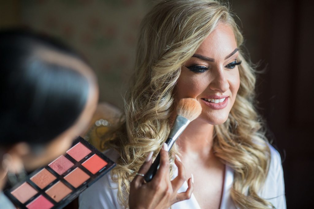 makeup artist with bride kilworth house hotel north kilworth leicestershire oxford wedding photographer