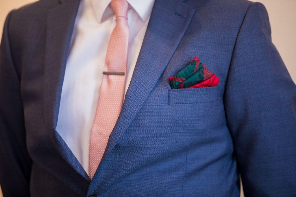 grooms pocket handkerchief tie clip registry office ceremony roysse court abingdon oxfordshire wedding photographer