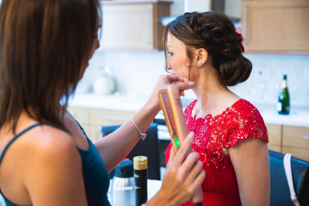 red dress bridesmaids hair styling bridal prep the wroxeter hotel shrewsbury shropshire oxfordshire wedding photographer