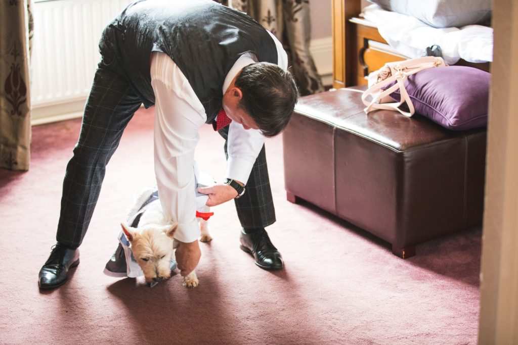 groomsman fits dogs jacket the wroxeter hotel shrewsbury shropshire oxfordshire wedding photographers