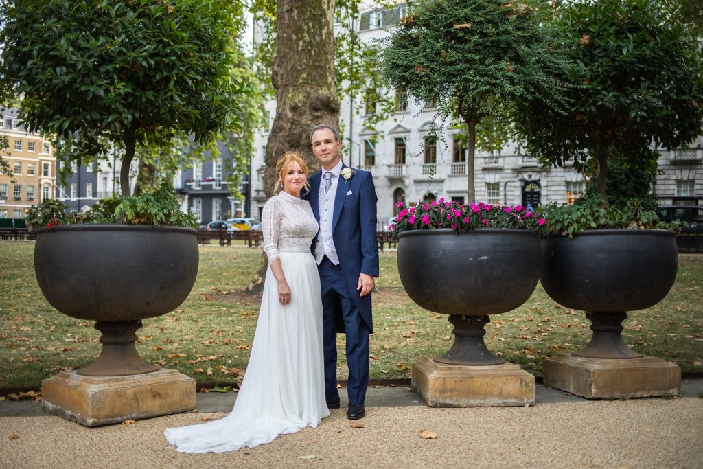 bride groom formal portrait london park lansdowne club mayfair marriage ceremony oxford wedding photographer