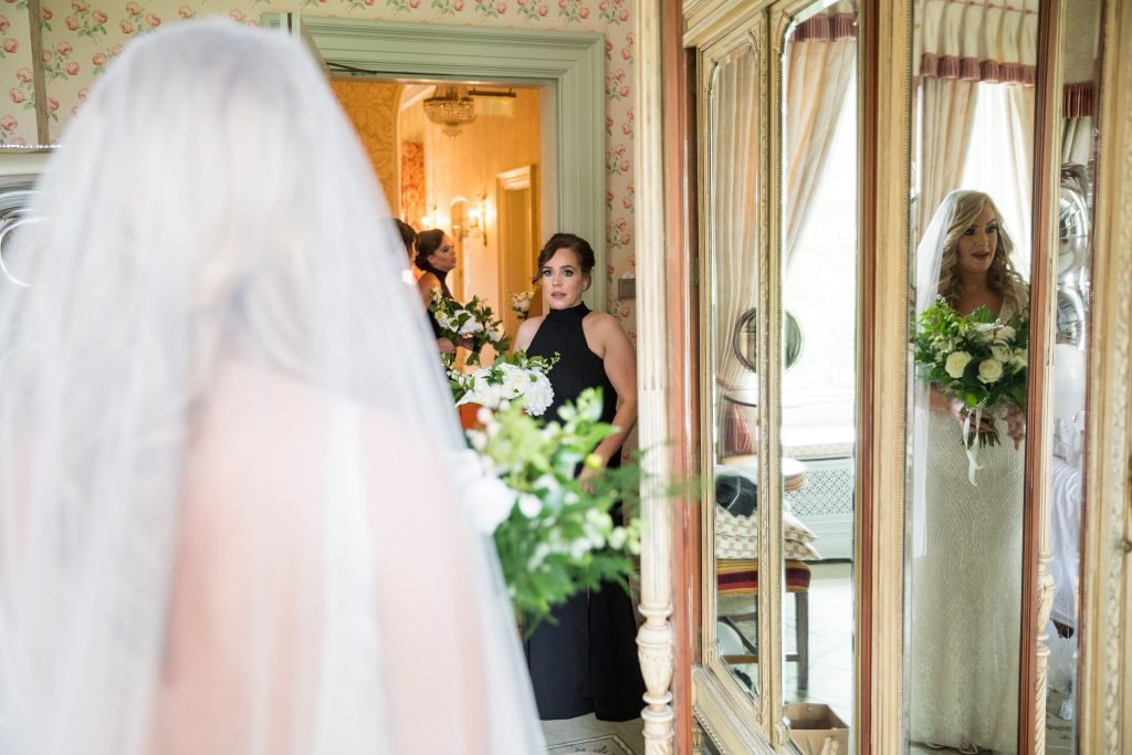 brides dress mirror reflection kilworth house hotel north kilworth leicestershire oxfordshire wedding photographer