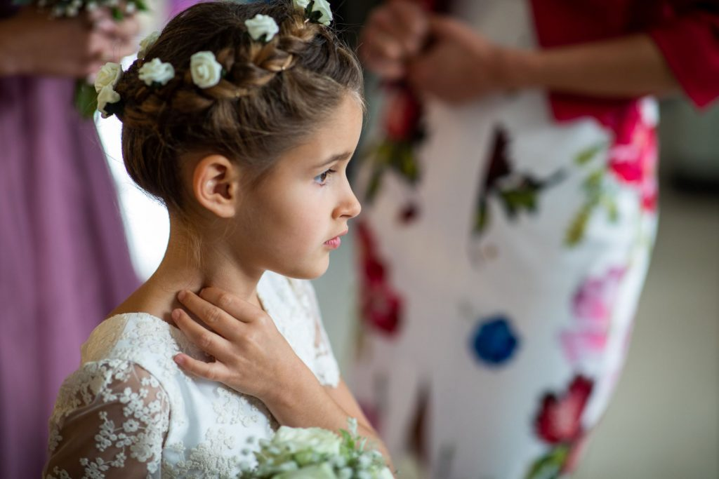 flowergirl awaits bride lansdown club marriage ceremony oxfordshire wedding photographers