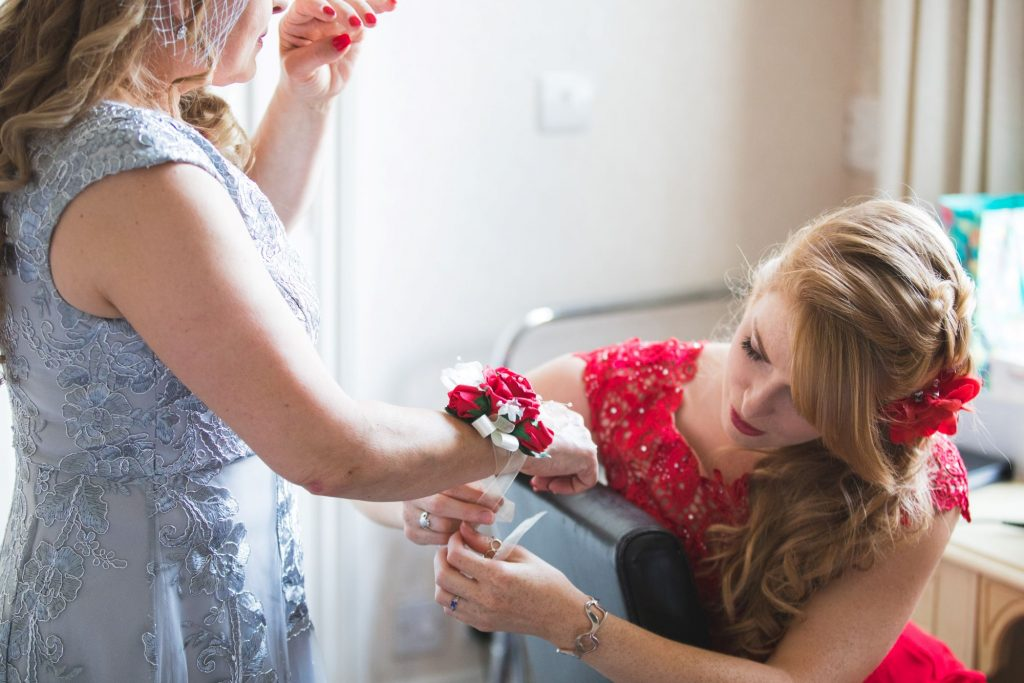bridesmaid ties red white floral bracelet the wroxeter hotel shrewsbury shropshire oxfordshire wedding photographers