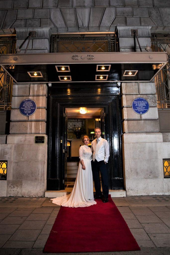 bride groom formal portrait lansdown club mayfair london oxford wedding photographer
