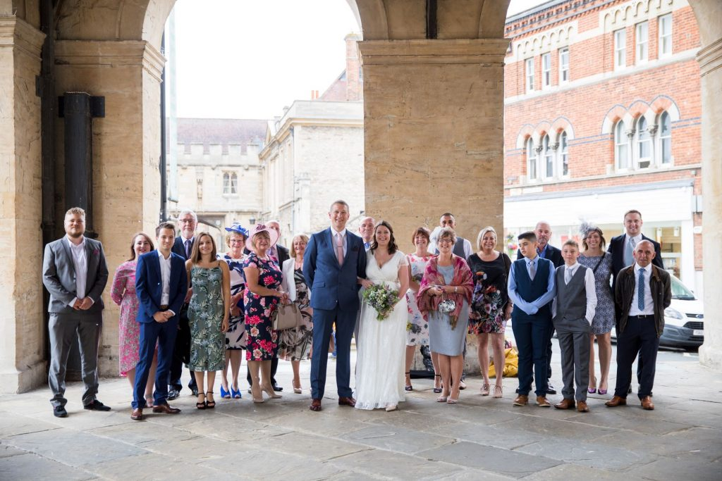 bridal party portrait registry office ceremony roysse court abingdon oxford wedding photography