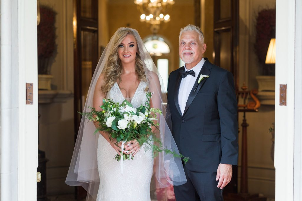 father of bride with bride formal portrait kilworth house hotel north kilworth leicestershire oxford wedding photographers
