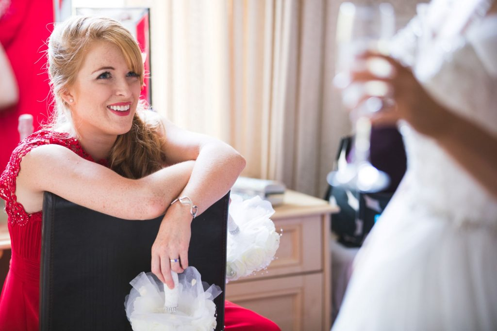 smiling bridesmaid bridal prep wroxeter hotel shrewsbury shropshire oxfordshire wedding photography