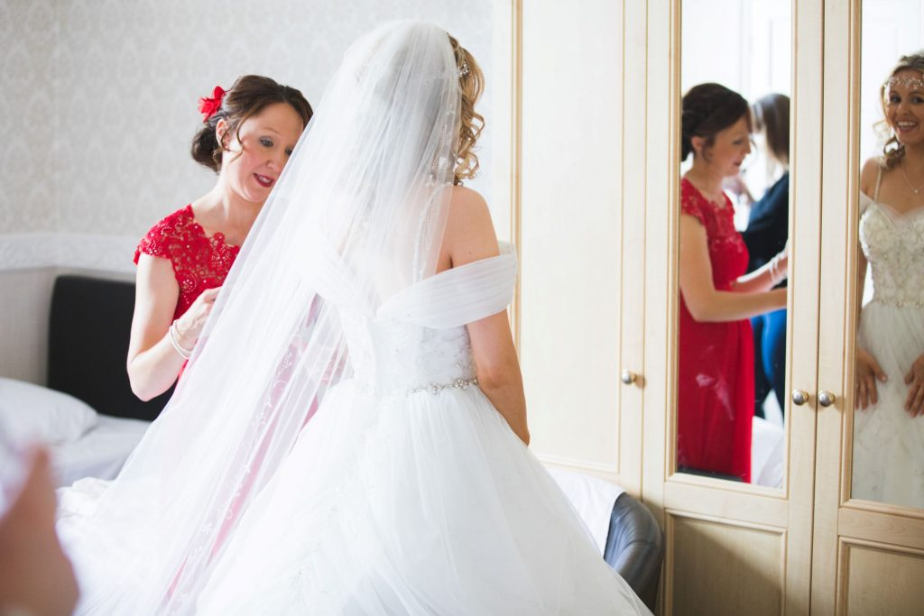 bride bridesmaid checks dress the wroxeter hotel shrewsbury shropshire oxford wedding photographer