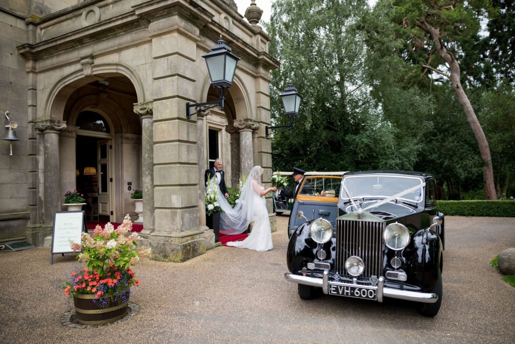 father of bride with daughter leave kilworth house hotel north kilworth leicestershire oxfordshire wedding photographers