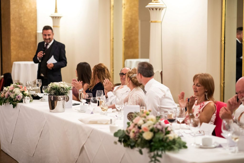 top table guests applaud bestmans speech lansdowne club mayfair london oxford wedding photographers