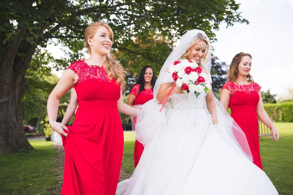 bride bridesmaids before woodland ceremony wroxeter hotel shrewsbury shropshire oxford wedding photographers