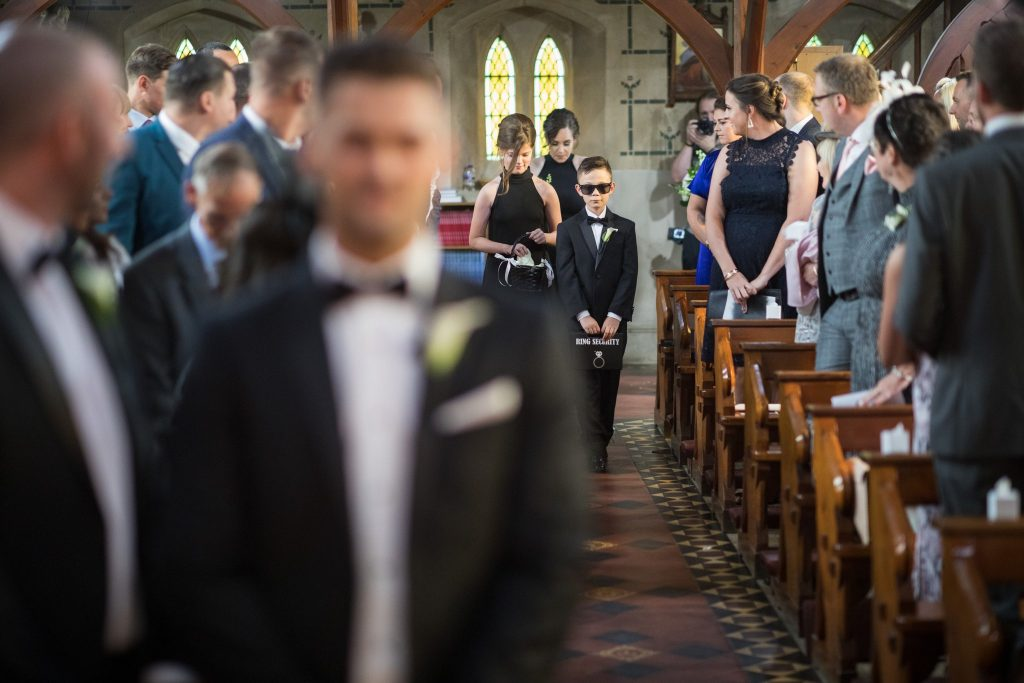 bridesmaids ring bearer enter st marys catholic church husbands bosworth leicestershire oxford wedding photography