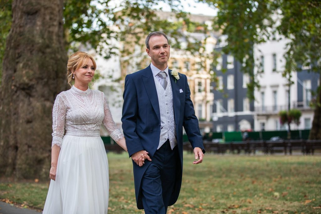 bride groom london park stroll lansdowne club marriage ceremony mayfair oxford wedding photographers